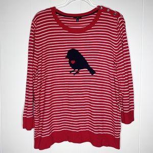 Talbots Striped Sweater Bird Heart Red & White 2X